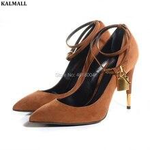 9ac03917ab0 KALMALL Women Padlock Pumps Ankle Strap High Heels Pointed Toe Stilettos  Metal Decor Shoes Women Celebrity