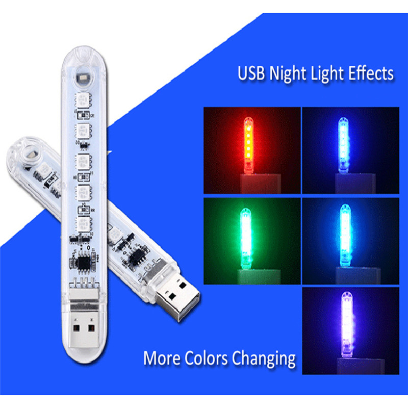 Mini USB LED Night Light For PC Laptops Computer Mobile Power Reading Lamp 5V Book Lights 5 Leds Portable Book Light RGB 5050
