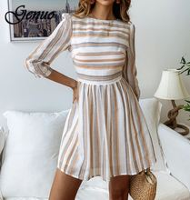 2019 Stripe Long Sleeve Summer Stripe Female Dress Women Elegant OL Short Dress Feminino Mini Beach Dress Vestidos купить недорого в Москве