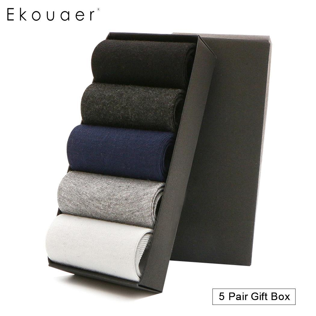 Ekouaer 5 Pairs Men's Business   Socks   Cotton Autumn Winter Sweat Absorbing   Socks   Elastic Breathable High Quality Male   Socks