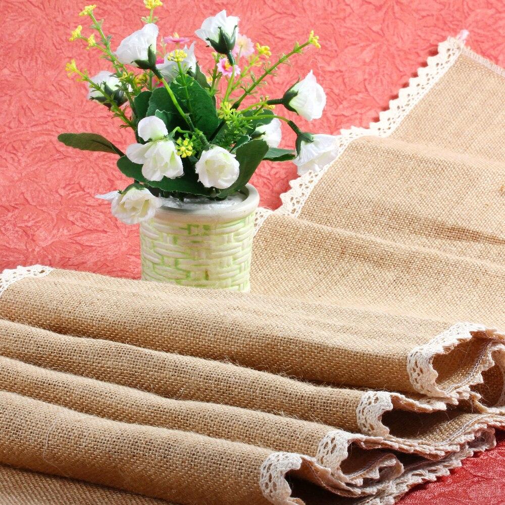 Vintage Natural Burlap Jute Linen Table Runner Christmas Wedding