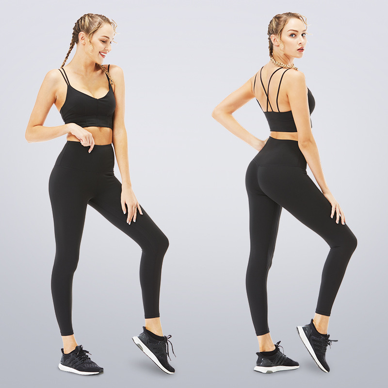 Women Solid Yoga Set Stretchy Self cultivation Fitness Clothing Padded Bra+leggings Sport Suit Gym Workout Running Sportswear Xl