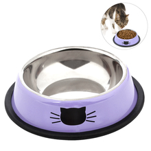 2019 New Stainless Steel Paint Pet Cat Bowl Non-Skid Rubber Base Dog For Food Water