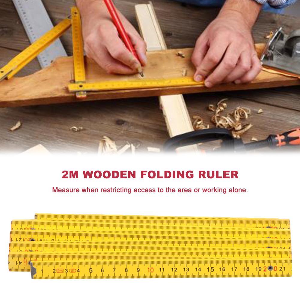 2 Meters Wooden Folding Ruler Eight Folding Measuring Tool