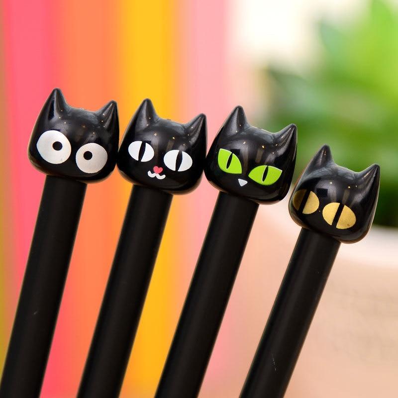 4PCS New Novelty Black Cute Cat Head Gel Ink Pen Promotional Student Gift Stationery School Office Writing Pens Creative Stylus