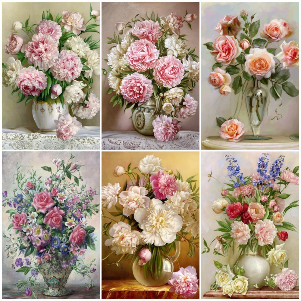 HUACAN DIY 5D Diamond Painting Peony Icon Modern Heminredning Full Square Diamond Broderier Blommor Weeding Gifts F1308