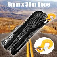 30mX8mm Winch Rope String Line Cable with Sheath Gray Synthetic Towing Rope Car Wash Maintenance String For ATV UTV Off Road