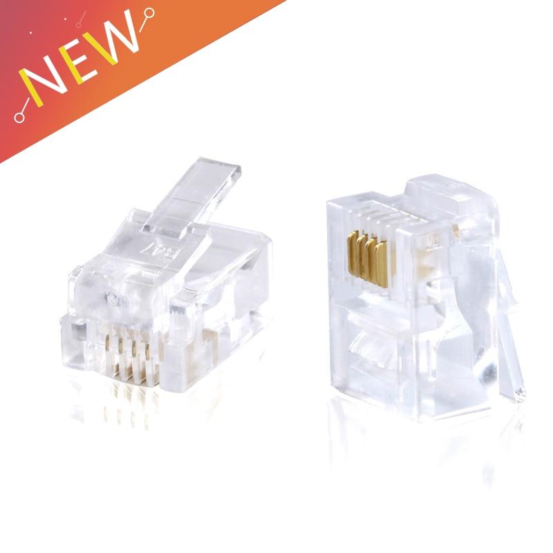 20pcs/lot RJ11 Connector 6P4C Modular Plug Plated Network Connector Crystal Head20pcs/lot RJ11 Connector 6P4C Modular Plug Plated Network Connector Crystal Head