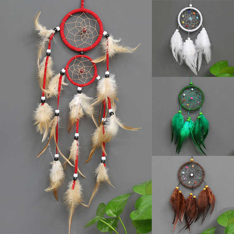 Retro Dreamcatchers Feathers Home Decoration 1PC Decoration For Car Dream Catcher Feather Wall Hanging Trendy Vintage Circular