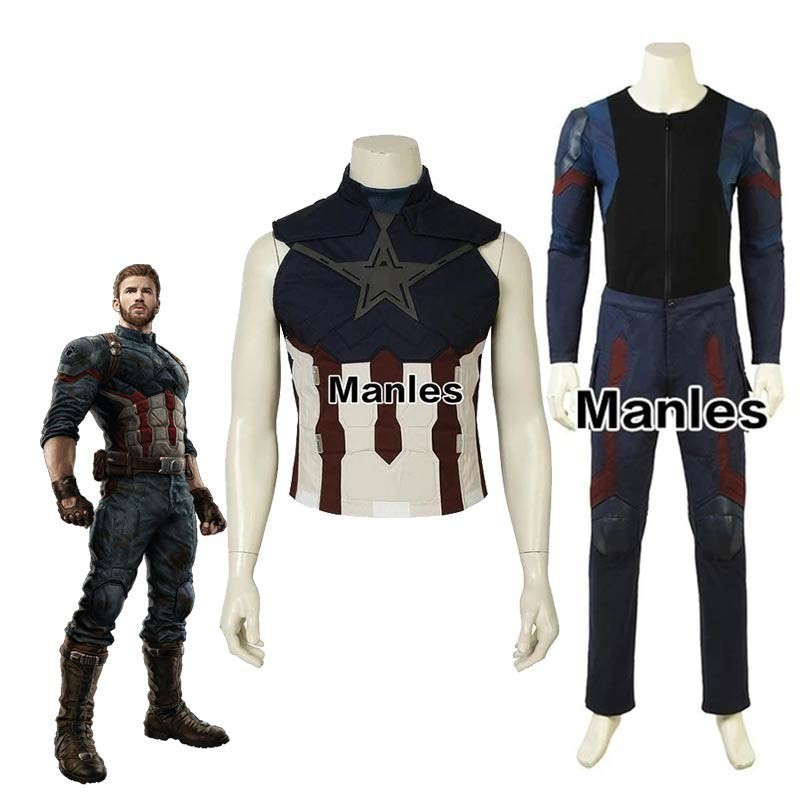Avengers Infinity War Costume Captain America Steve Rogers Cosplay Superhero Halloween Adult Men Customized Only Vest Jumpsuit