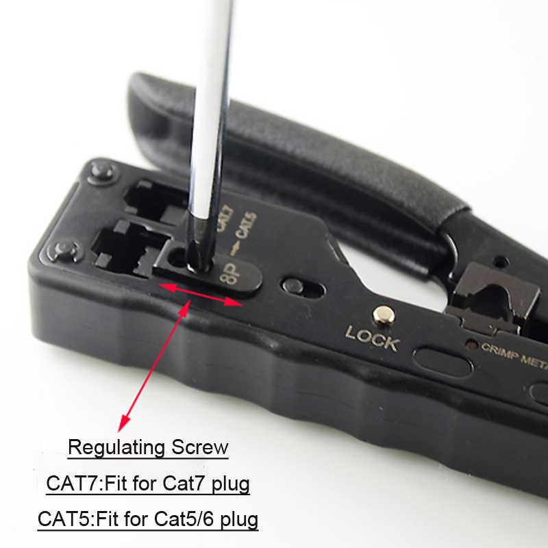 LEORY RJ45 ツールネットワーククリンパーツールため Cat7 Cat6 Cat5e Cat5 STP プラグ RJ45 コネクタケーブル Multifunctio 圧着金属クリップ