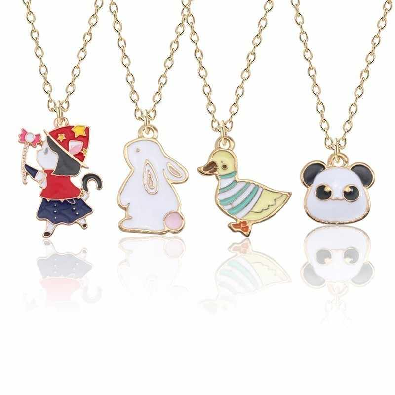 Cartoon Animal Collar Cute Monkey Rabbit Duck Panda Necklaces And Pendants For Children Gold Chain, Christmas Gift Birthday Gift