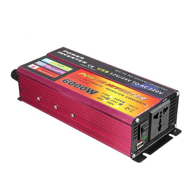 Solar Inverter 12V 220V 6000W Peak Voltage Converter Transformer DC 12V&24V 48V&60V To AC 110V/220V Auto Adapt Inversor 5