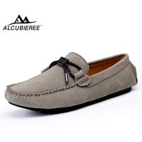 ALCUBIEREE Fashion Bowtie Loafers Mens Casual Handmade Boat Shoes Cow Suede Leather Moccasins for Men Breathable Driving Shoes