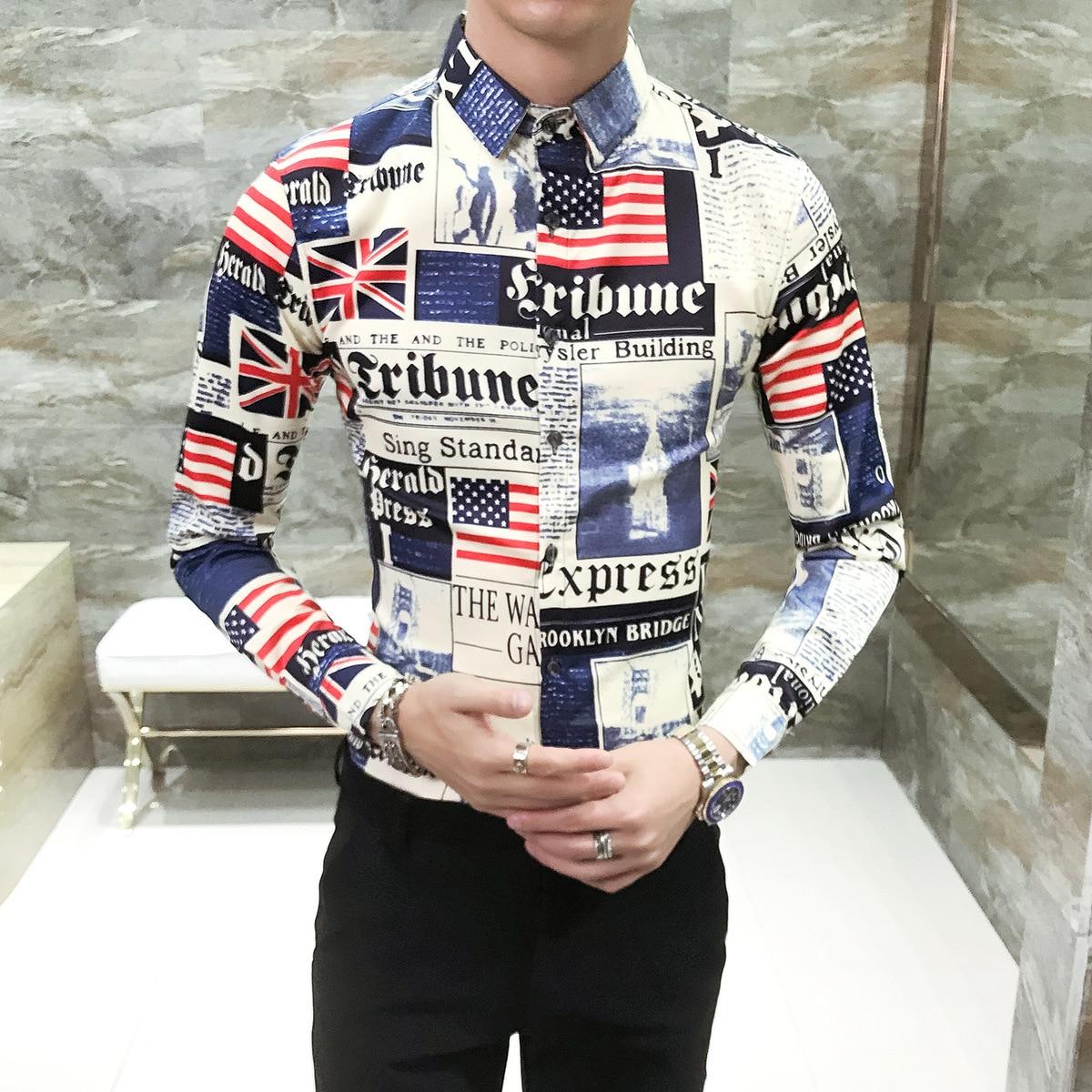 Рубашка с принтом в виде газет для мужчин, новинка 2018 года, осенняя дизайнерская рубашка для мужчин, мужская рубашка, мужская рубашка с длинн...