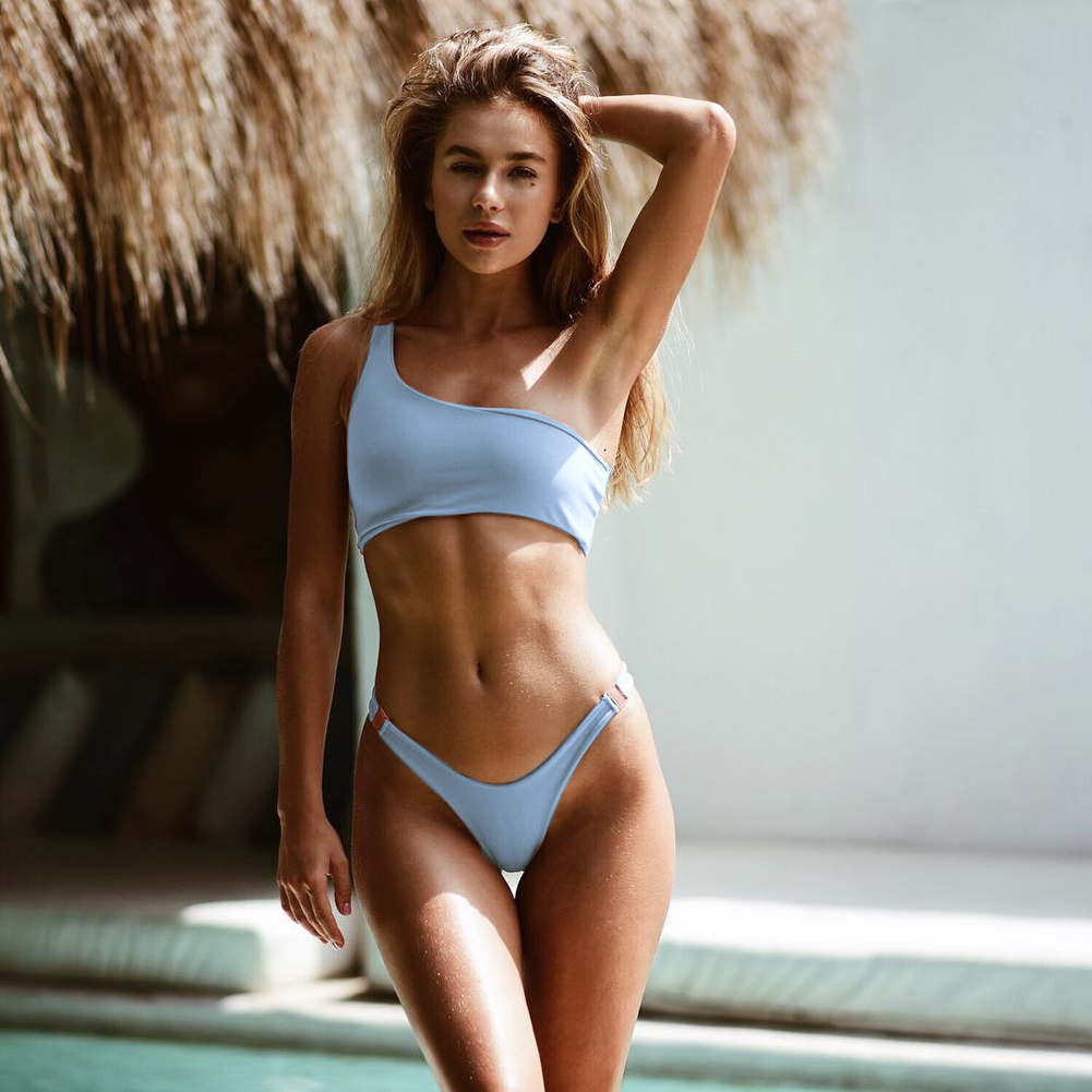 One-Shoulder Swimwear Bikini-Set Bathing-Suit Maillots-De-Bain White Sexy Women Solid