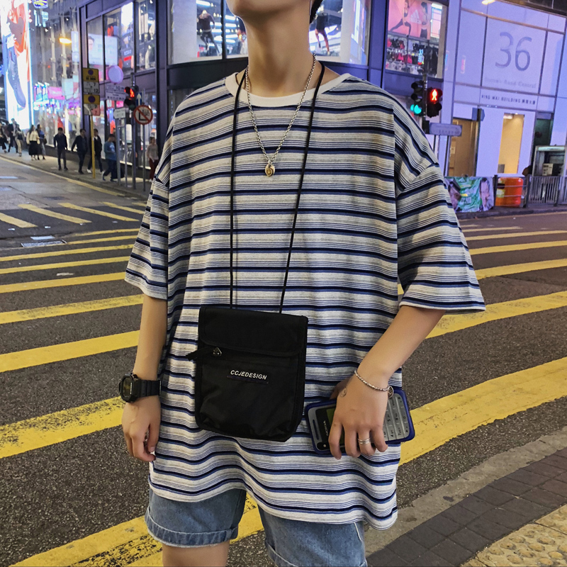 2019 Summer Korean Style Men's Round Neck Cotton Clothing Colour Stripe Printing Short Sleeve Male T-shirts Big Size S-3XL