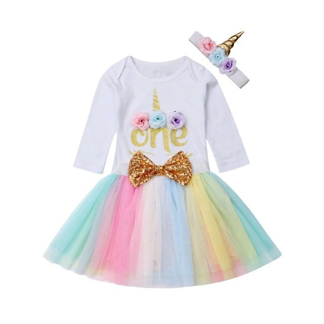 fe9b4a292f06d Newly Autumn Princess Baby Girl 1st Birthday Unicorn Outfit Romper Tutu  Skirt Headband Cake Smash Set