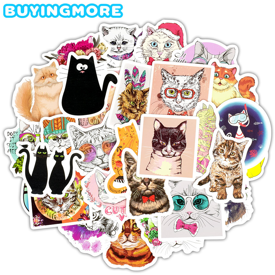 50 PCS Cute Cats Stickers Gift Toys For Children Animal Cartoon Kawaii Waterproof Stickers To DIY Skateboard Laptop Car Luggage
