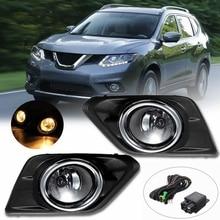 Для Nissan Rogue SUV 14-16 Вт/переключатель ламп ободок комплект 1 пара Хром прозрачные линзы автомобиля противотуманная фара