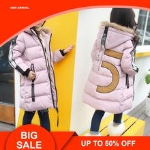 girls Winter New Cotton Jackets Girls Fashion Fur Collar Letters Coats Girl Thickening Hooded Warm Jacket kids clothes все цены