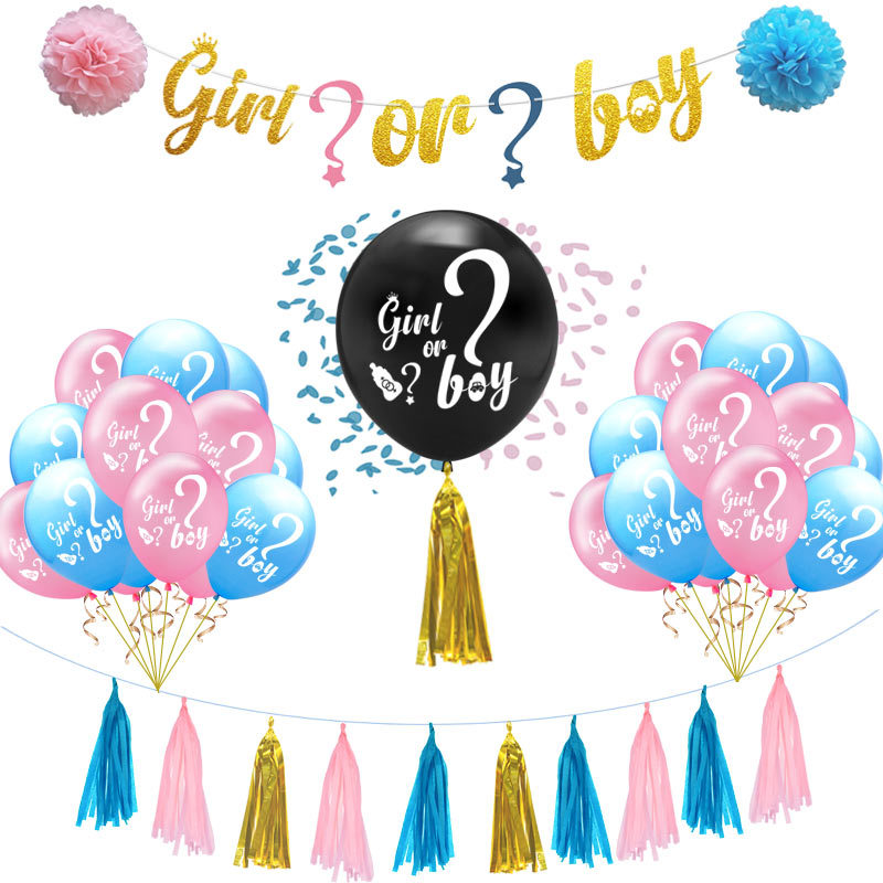 Gender Reveal Party Supplies Kit Boy Or Girl Baby Shower Decorations-Pregnancy Announcement- Boy Or Girl Banner & Balloons