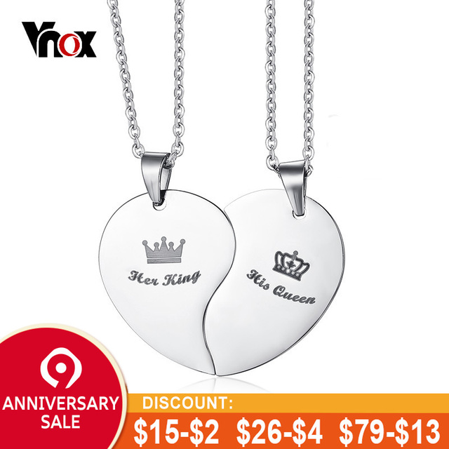 f2f0942f3c Vnox His Queen Her King Crown Couple Necklace For Women Men Pendant Heart  Stainless Steel Lover Wedding Jewelry Gift for Him Her