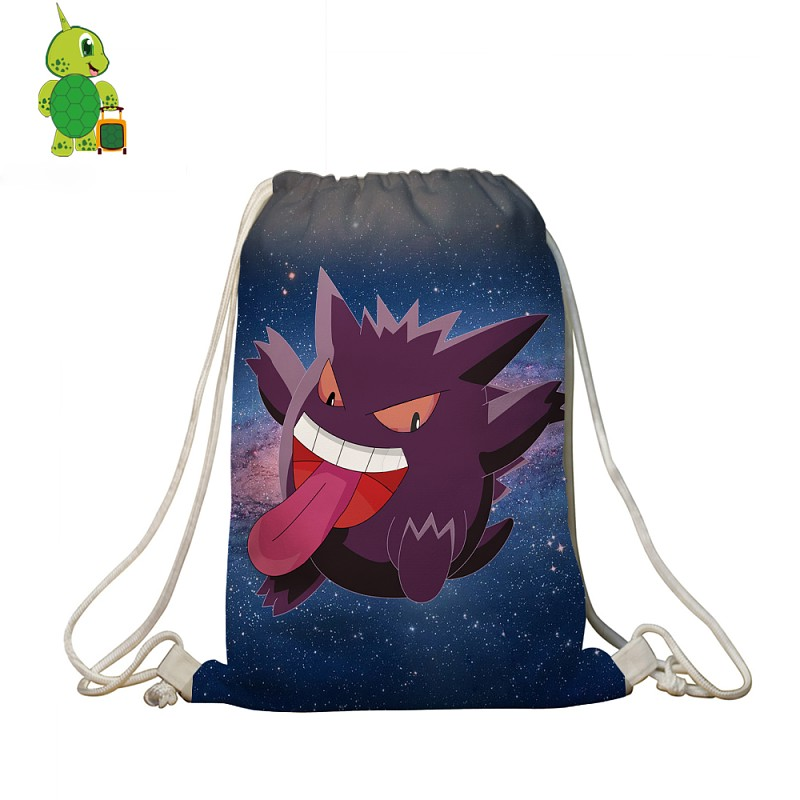 Pokemon Gengar Galaxy Space Drawstring Bag Women Men Casual Travel Shoulder Bags Boys Girls School Bags Storage Shopping Bag