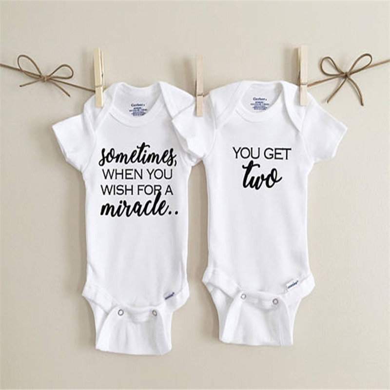 Cotton Infant Baby Boys Girls Funny Print Bodysuit Romper Clothes Outfits Twins Infant Vestido Infantil Baby Baptism Clothes