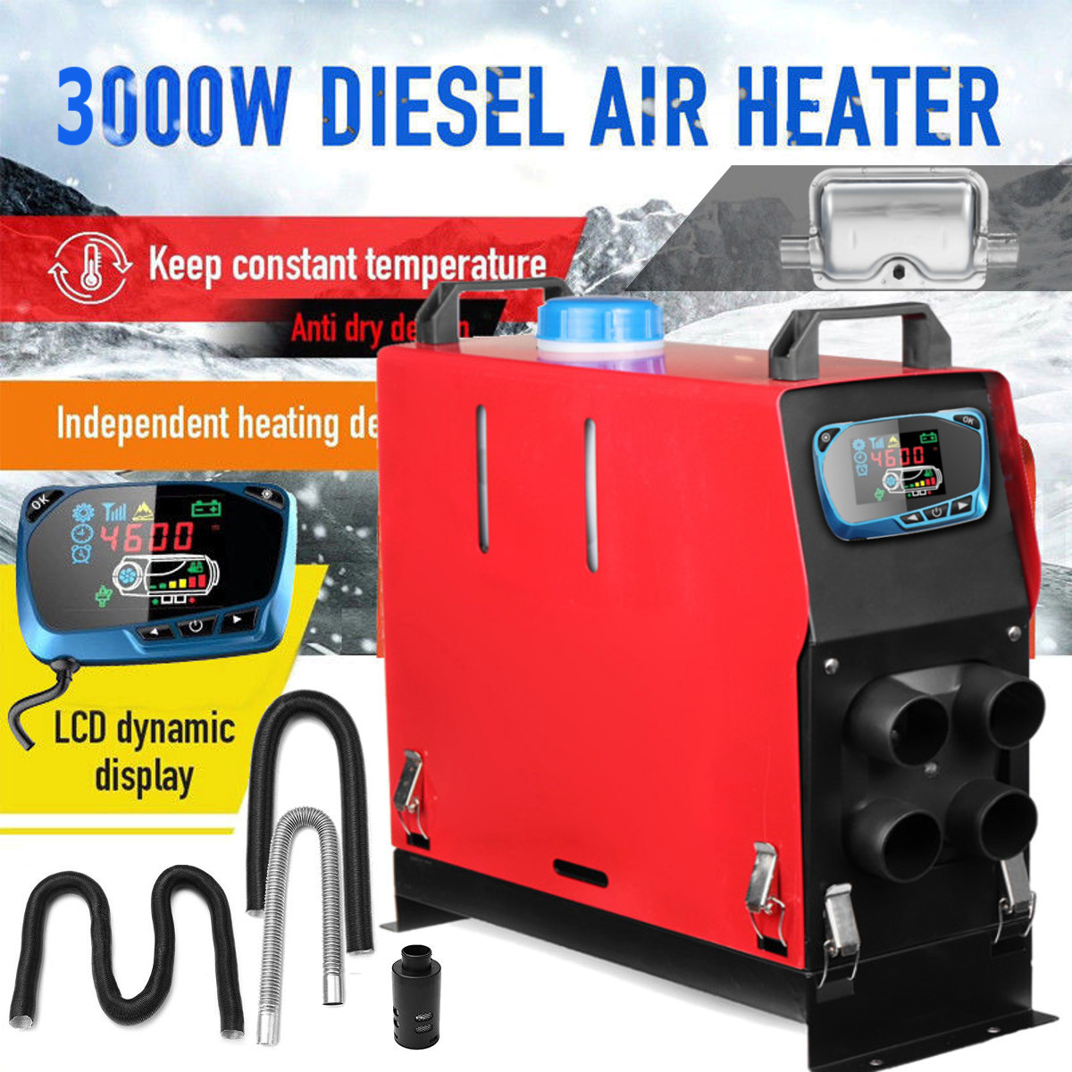 3000 w Air diesels Chauffe-3KW 12 v Chauffage De la Voiture Pour Camions Moteur-Maisons Bateaux Bus + Date LCD interrupteur à clé + Silencieux