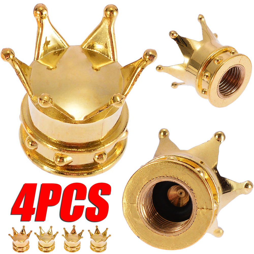 New Arrival 4pcs Aluminum Car Wheel Tyre Tire Air Valve Stem Cap Dust Cover Gold Crown Design For Auto Tire Decoration