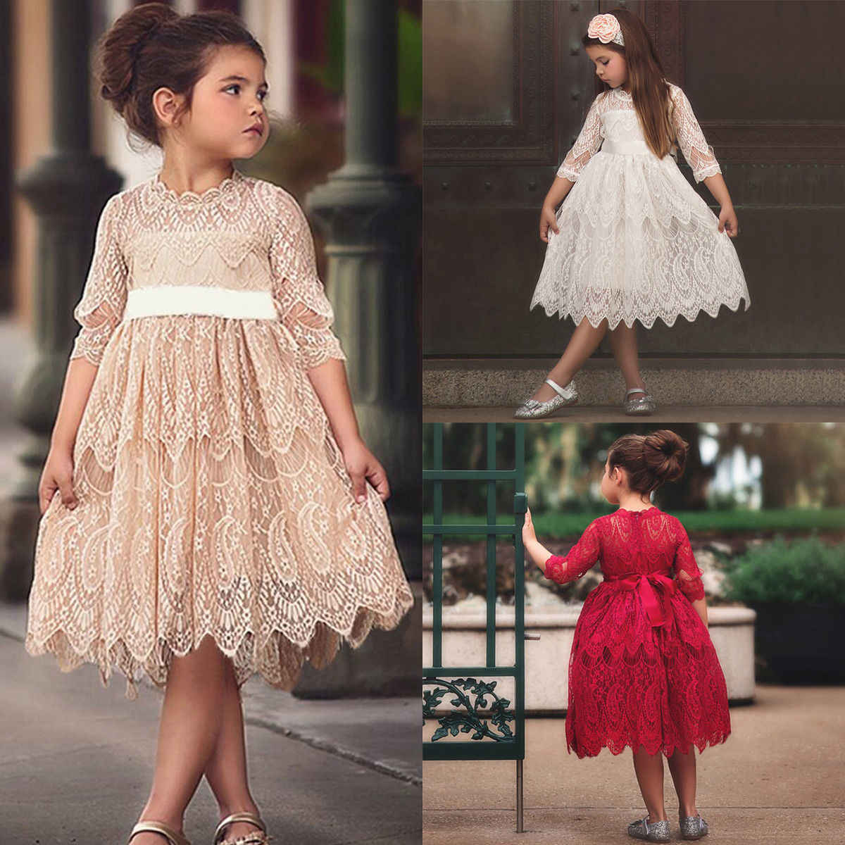2019 Newest Style Elegant Girl Dress Lace Solid Baby