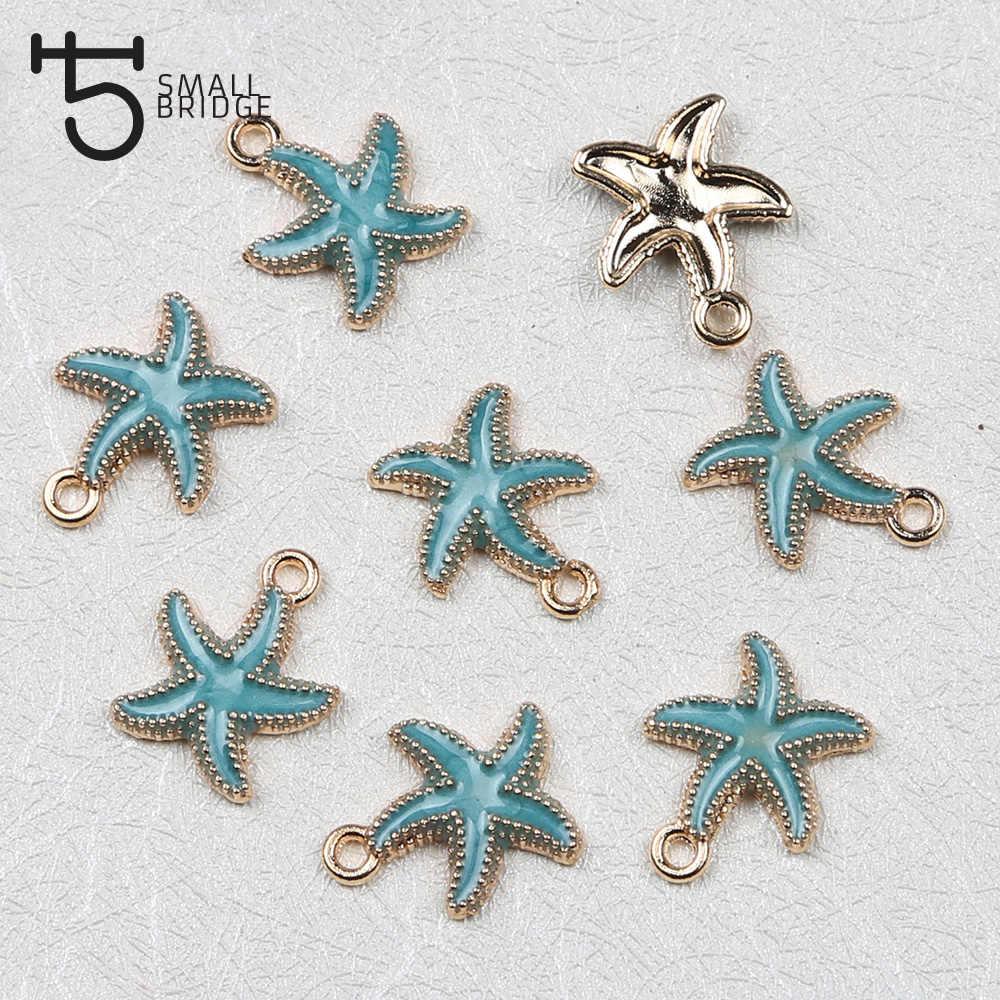 8 pcs Starfish Náutico Charme Esmalte Pingente Para Mulheres Que Fazem Jóias Colar Pulseira DIY Acessório Liga de Metal Contas M202