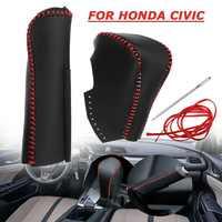Couvercle automatique en cuir de frein à main de pommeau de levier de vitesse pour Honda/Civic 8th génération 2006 2007 2008 2009 2010