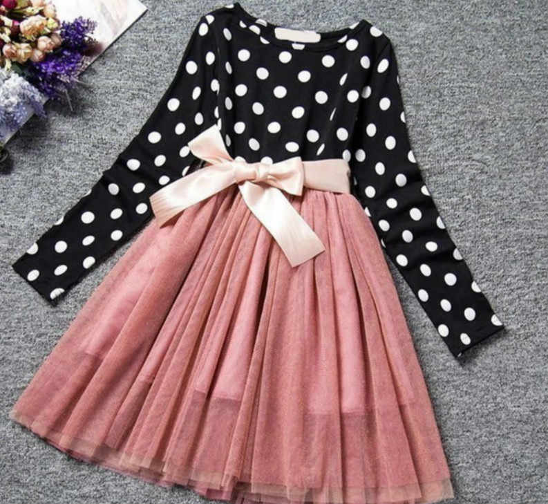 Girls Dress Children's Clothes Summer Cartoon Dot Printing Long Sleeved Round Necklaces Lace Princess Dress Long Sleeved Dress