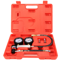 Cylinder Tester Detector Engine Compression Leak down Test Gauges Set & Red Case
