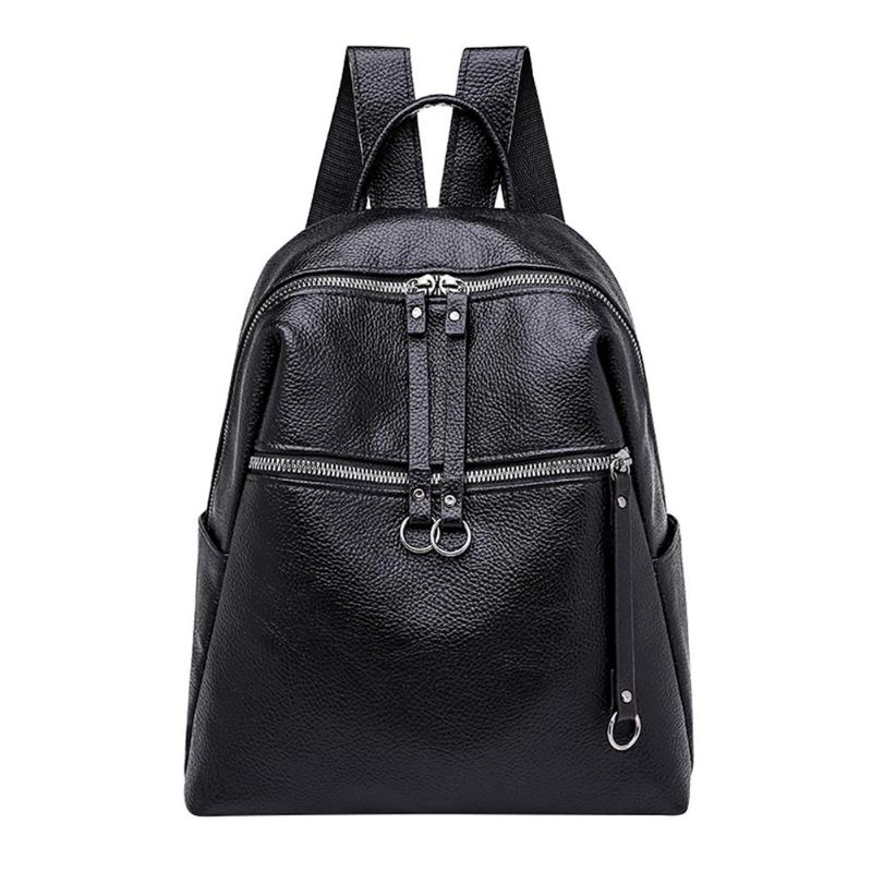 2018 New Cool Women Backpack PU Leather Shoulder Bag Student Girls Travel School Bags Fashion Casual Female Black Backpack