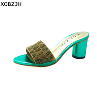 XOBZJH Rhinestone Shoes Women 2018 Fashion Summer Open Toe Female Green Sandals Block High Heel Party Shoes Heel 2.5 Inch