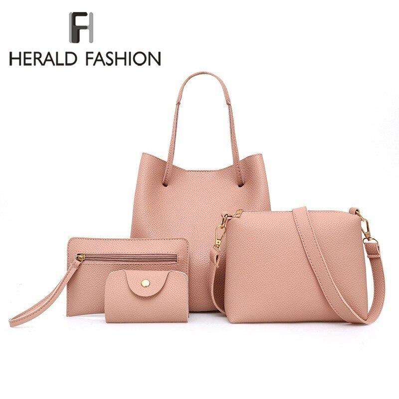 Herald Fashion Large 4pcs/set Female Shoulder Bags Quality Soft Leather Women Co