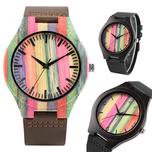 Novel Rainbow Dial Wood Watch for Women Leather Band Strap Bamboo Watches for Girl Quartz Core Best Wooden Watch for Friends все цены