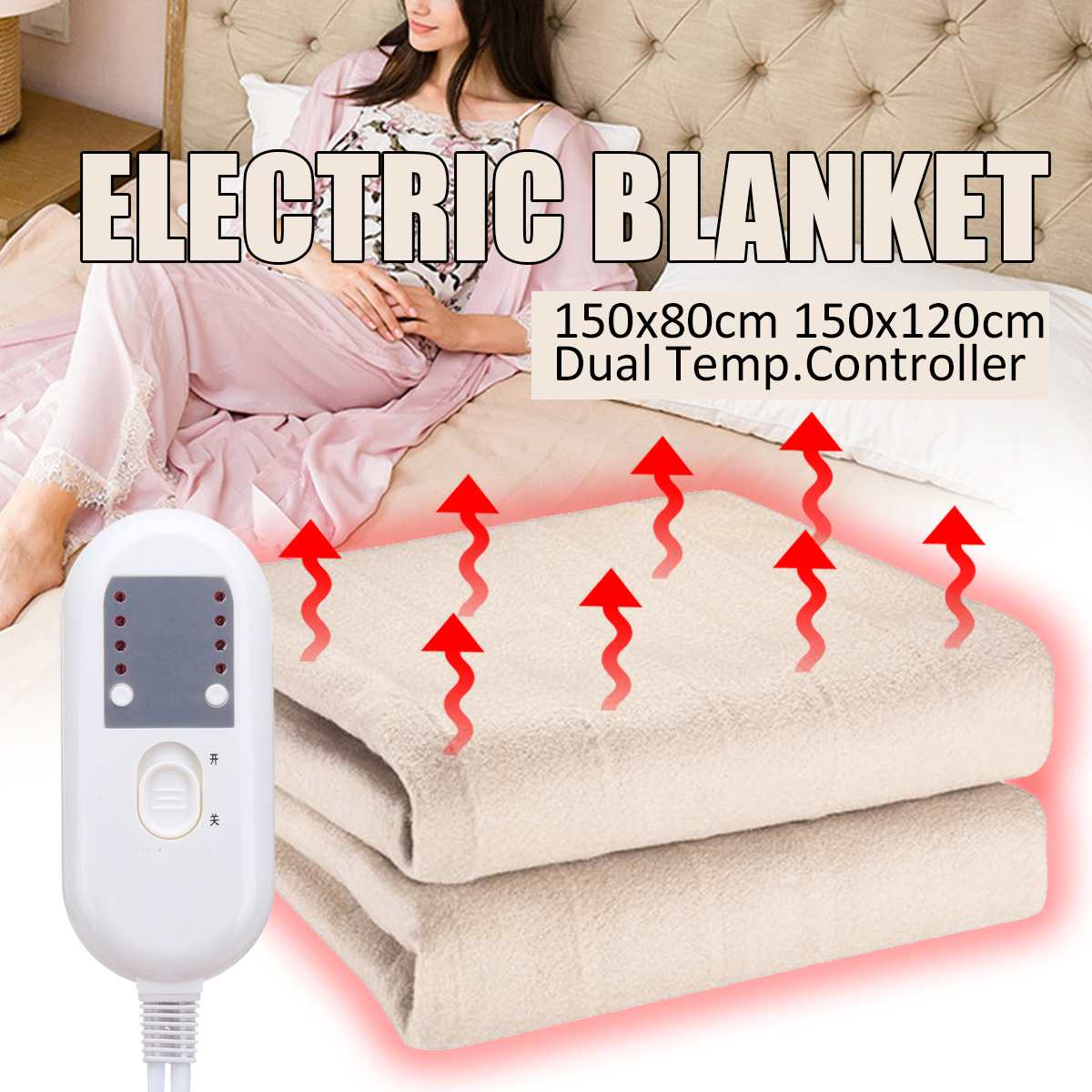 Home Electric Blanket King Size Dual Control 180X150cm Flannel 4 Control Settings Timer Soft Comfort No Noise