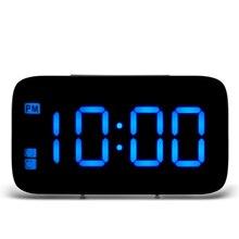 JK-015 светодиодный Будильник Голосовое управление цифровой светодиодный дисплей времени Электрический Повтор ночного сигнала подсветка настольные часы для домашнего декора