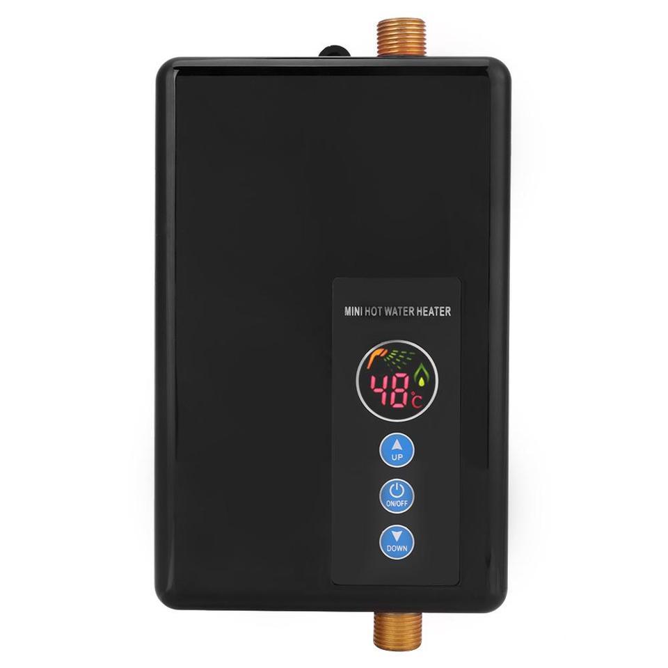 Dorado Calentador de agua instant/áneo 220 V 5500 W Mini calentador de agua el/éctrico Ducha sin tanque Sistema de agua caliente para ba/ño Cocina Lavado dom/éstico