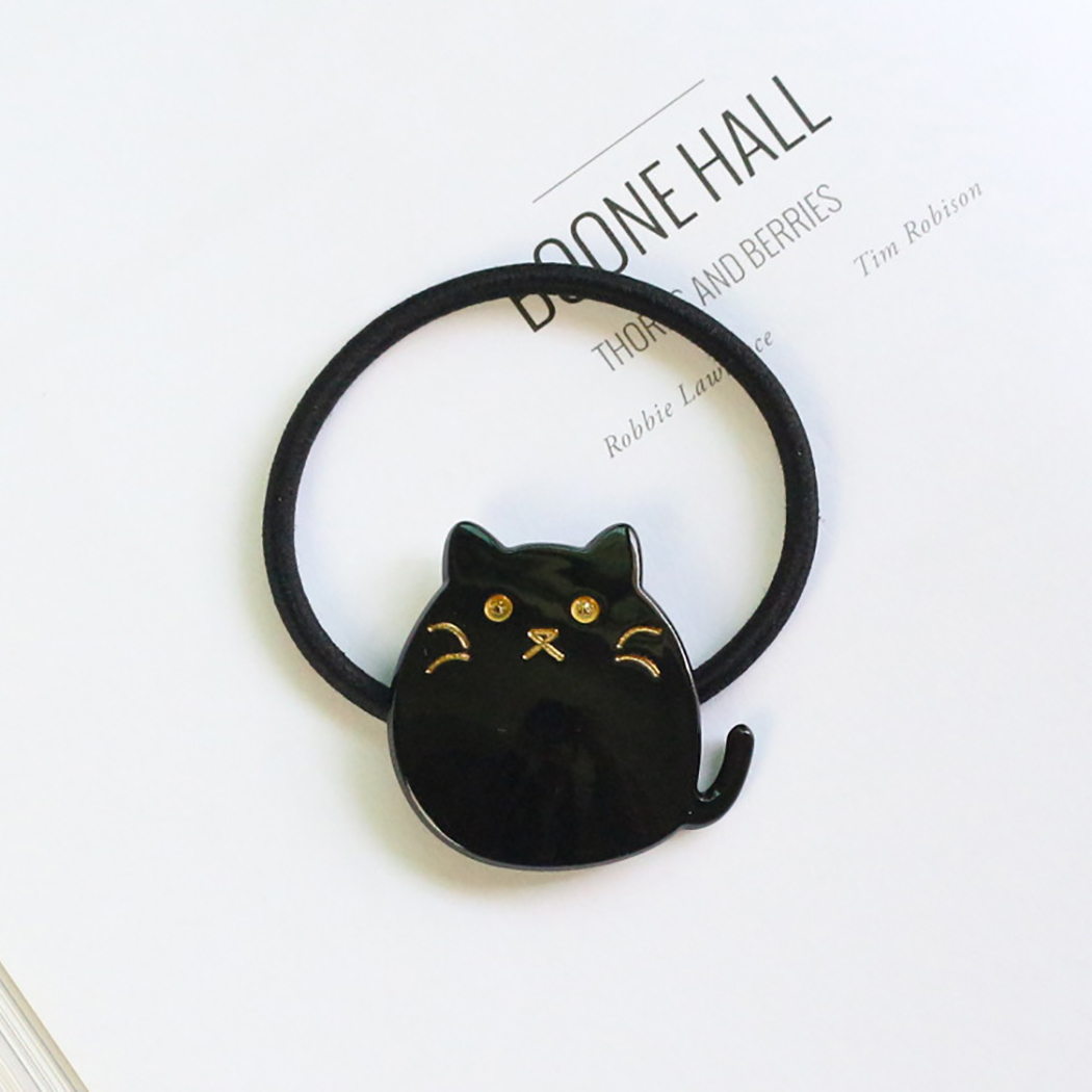 Cartoon Halloween CAT FACE Hair Bands Elastic Rubber Band Pony tail Pair packet
