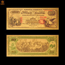 Yeni ürün renk abd kağıt para 10 dolar para altın banknot çoğaltma sahte faturaları koleksiyonu için