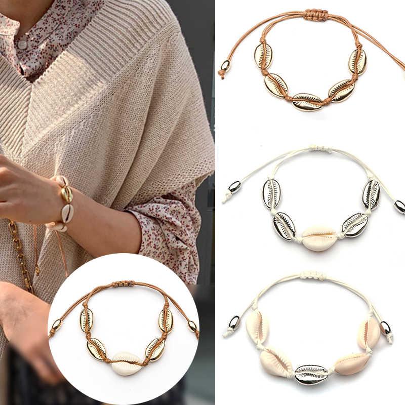 Trendy Boho Hot Cowrie biżuteria powlekana bransoletki dla kobiet delikatne złoty kolor powłoki łatwy mecz ręcznie robiona bransoletka dla kobiet