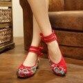 Chinesische Schuhe Frauen Stickerei Mary Jane Stoff Wohnungen Traditionellen Bestickten Alten Peking Blume Leinwand Casual Große Größe-in Flache Damenschuhe aus Schuhe bei