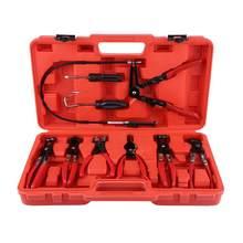Jeu de pinces à serrage pour tuyau Flexible, 9 pièces, outil à main utile, mâchoire pivotante, bande coudée plate, outils automobiles, jeu de forets