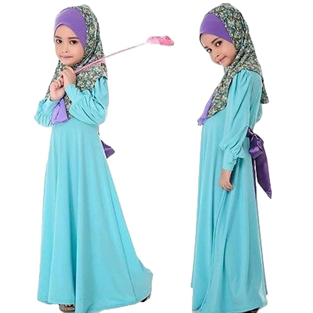 Kids Girls Muslim Maxi Dress Long Sleeve Holiday Abaya Kaftan Islamic Clothes