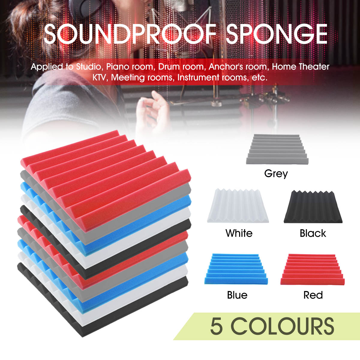 4Pcs 500x500x50mm Soundproofing Foam Acoustic Foam Sound Treatment Studio Room Absorption Tiles Polyurethane foam 5 Colors